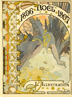 mucha noel illustration